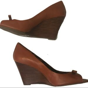 BCBGeneration 8B Brown Leather Wedge Heels